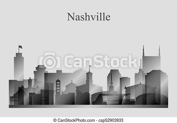 Nashville City skyline silueta en la escala gris - csp52903933