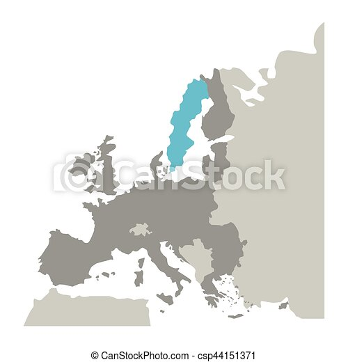 Norway On Europe Map.Grayscale Silhouette With Europe Map With Norway And Sweden In Blue