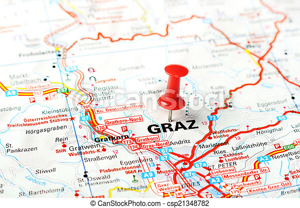 karta graz Graz ,austria map. Close up of graz , austria map with red pin  karta graz