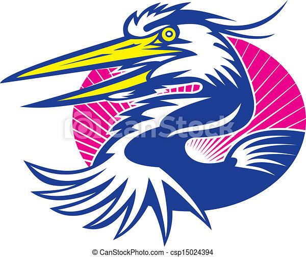 Great Blue Heron Head Retro - csp15024394