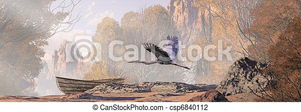 Great Blue Heron In Flight - csp6840112