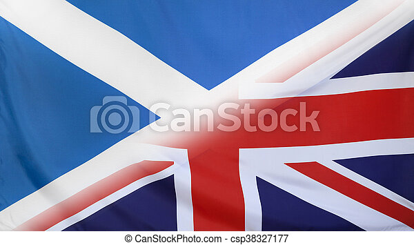 Scotland and Great Britain relations concept with diagonally merged real fabric flags