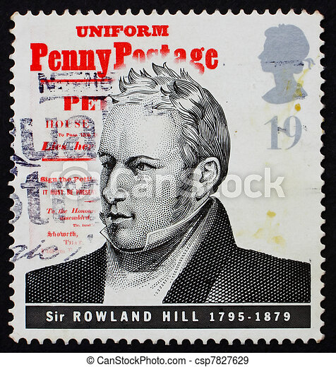 GREAT BRITAIN - CIRCA 1995: a stamp printed in the Great Britain shows Sir Rowland Hill, introduction of uniform penny postage, reformer of the postal system, circa 1995 - csp7827629