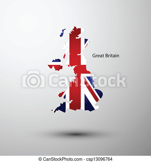 Great Britain flag on map - csp13096764