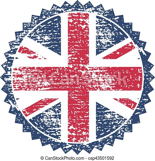 Great Britain grunge stamp with union flag. Vector illustration - csp43501592