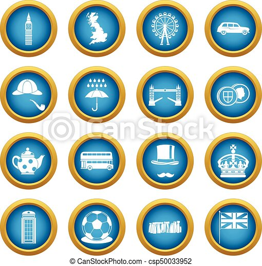 great britain icons blue circle set isolated on white for digital