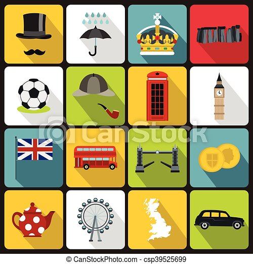 great britain icons set flat style great britain icons set in flat