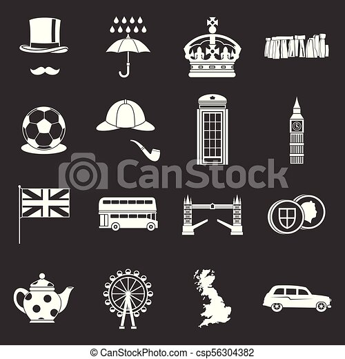 great britain icons set grey vector great britain icons set vector