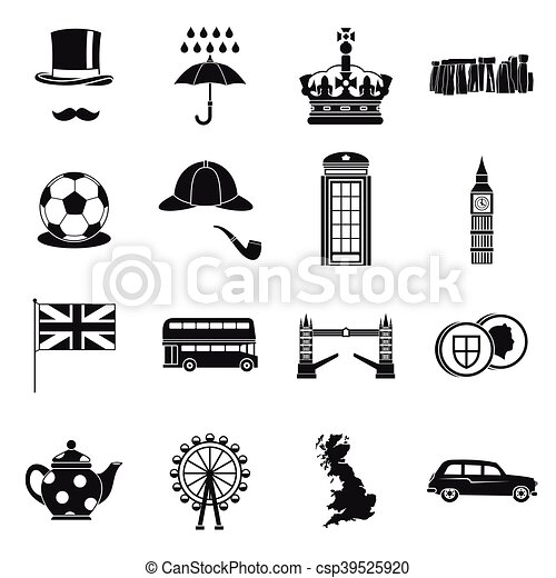 Great Britain icons set , simple style - csp39525920
