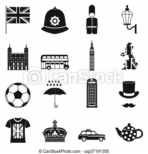great britain icons set simple style great britain icons set in
