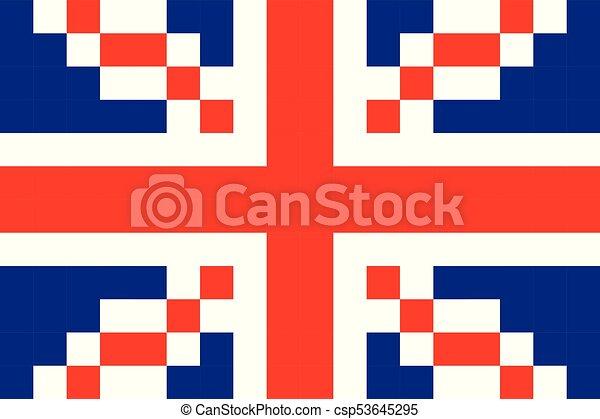 Great Britain Pixel Flag Art Cartoon Retro Game Style