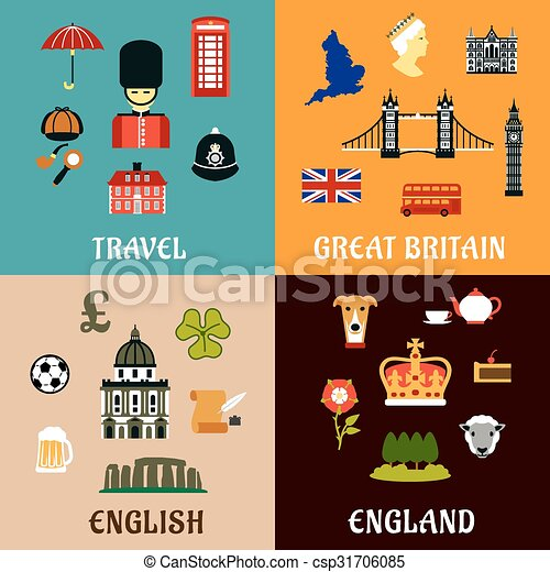 great britain travel landmarks flat icons architectural and