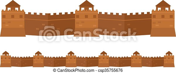 Great Chinese Wall old architecture famous attributes.  - csp35755676
