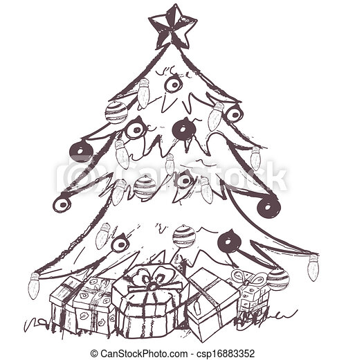 Great Christmas Collection Sketch Hand Drawn Doodle Sketch Of A