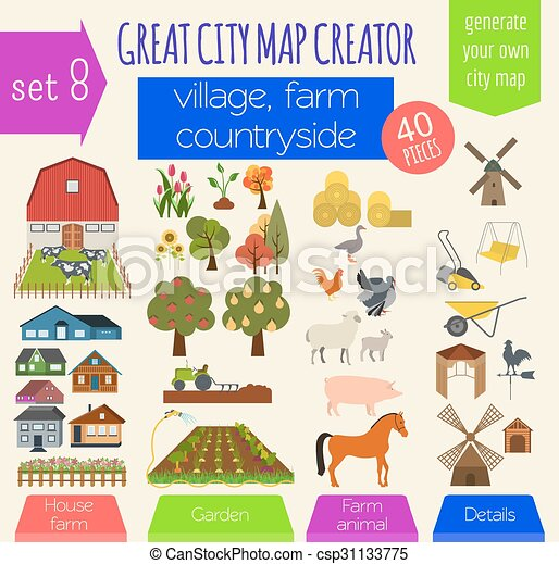 Great city map creator. House constructor. House, cafe, restaurant, shop, infrastructure, industrial, transport, village and countryside. Make your perfect city - csp31133775