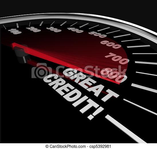Great Credit Scores - Numbers on Speedometer - csp5392981