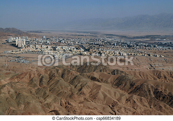 Great desert without loneliness, with construction of oases, Israel, Beer Sheva, Negev Desert. - csp66834189