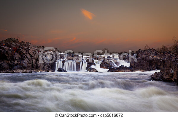 Great Falls at dusk - csp5016072