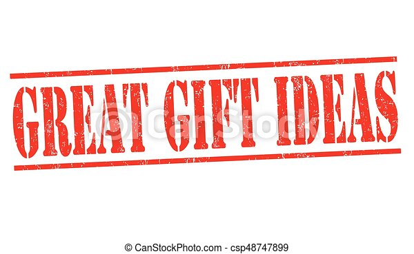217537e35 Great gift ideas sign or stamp on white background, vector illustration.