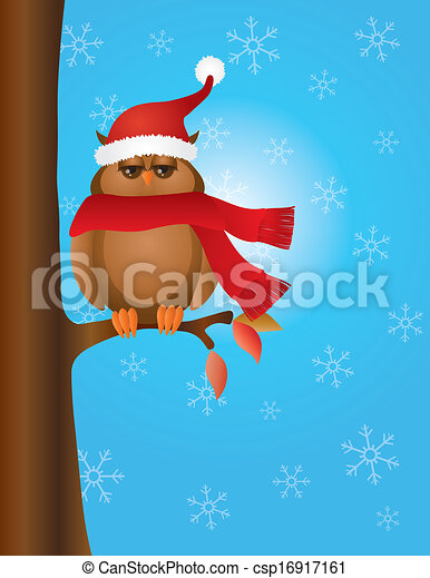 Great Horned Owl with Santa Hat on Tree - csp16917161