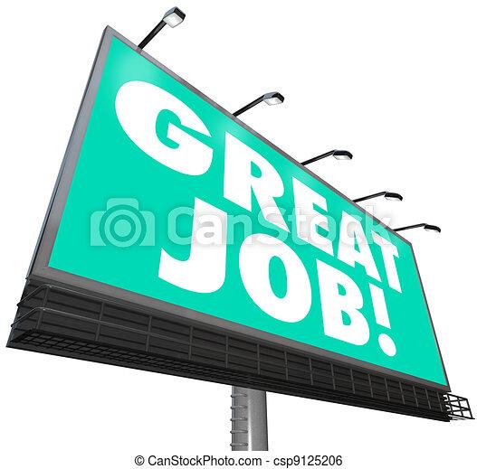 great job billboard words appreciation praise compliments csp9125206