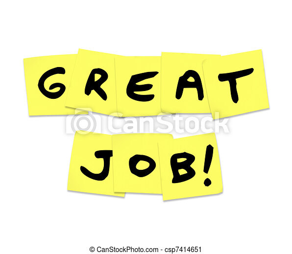 Great Job - Praise Words on Yellow Sticky Notes - csp7414651