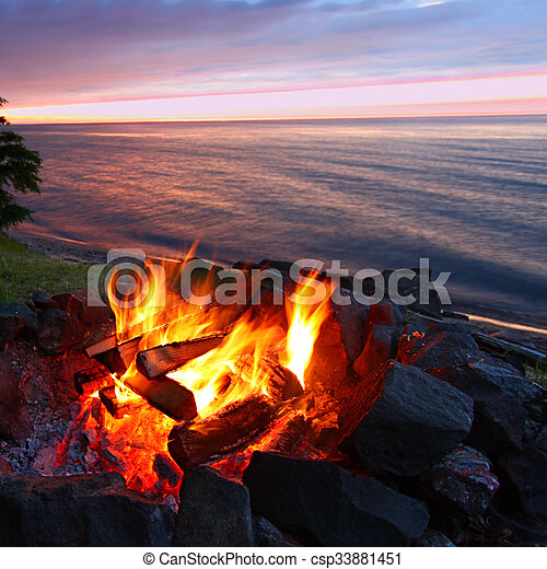 Great Lakes Sunset Beach Fire - csp33881451