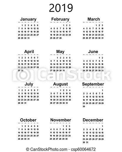 Calendario Grande.Great New Wall Calendar 2019 Vector Illustration Icon