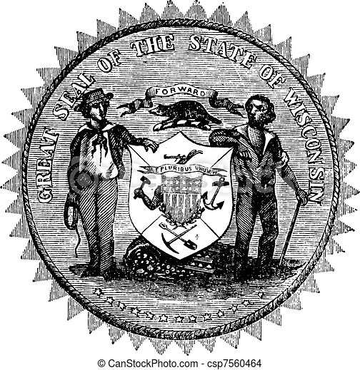 Great Seal of the State of Wisconsin USA vintage engraving - csp7560464