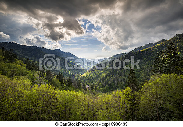 Great Smoky Mountains National Park Mortons Overlook Scenic Landscape Gatlinburg TN with spring greens and dramatic sky - csp10936433