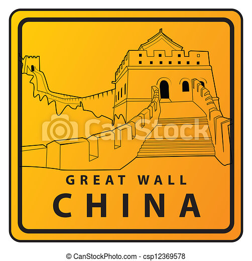 Great wall china travel sign. Great wall china vector illustration.