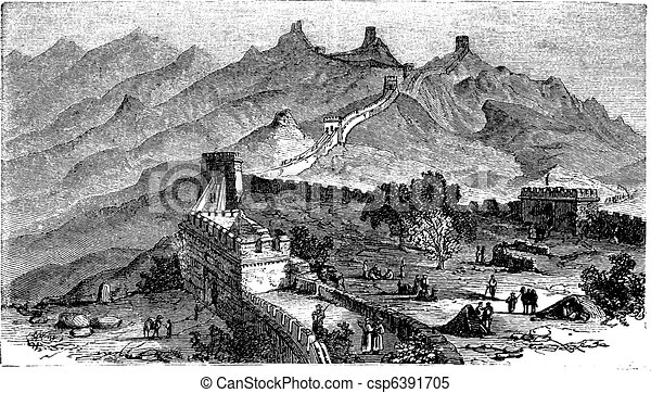 Great Wall of China, during the 1890s, vintage engraving - csp6391705