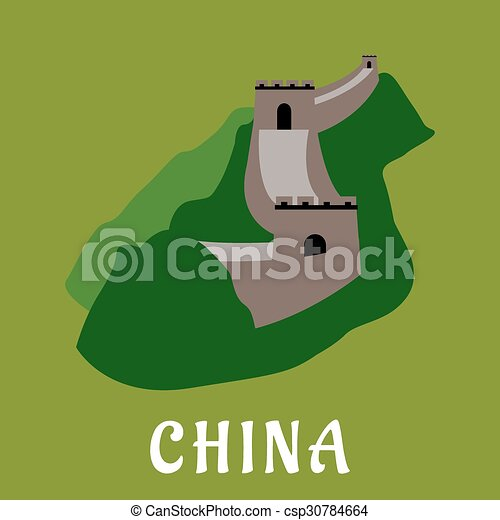 Great Wall of China flat design - csp30784664 & Great wall of china flat design. Great wall of china flat icon with ...