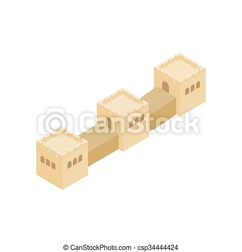 Great wall of china icon, isometric 3d style. Great wall of china ...