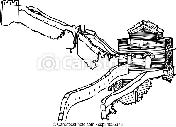 great wall of china an abstract outline of the chinese wall vectors rh canstockphoto com great wall of china clipart free free clipart great wall of china
