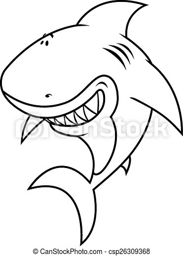 Funny looking great white shark coloring book vector... clip art ...
