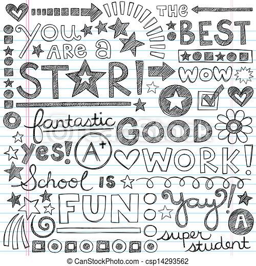 Great Work Praise School Doodles - csp14293562