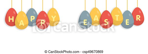 greating, uovo, pasqua, fondo, bianco, bandiera, felice - csp49670869