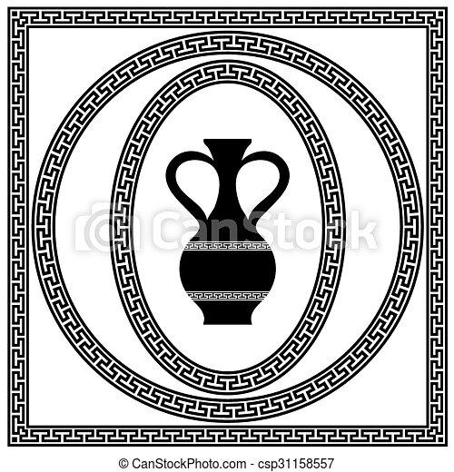 grec, cadres, ensemble - csp31158557