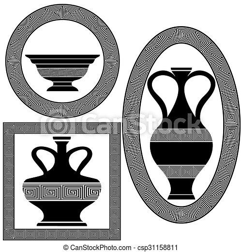grec, cadres, ensemble - csp31158811