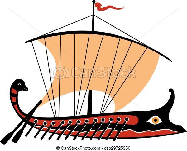 grec, illustration, trireme, vecteur, arrière-plan., blanc - csp29725350
