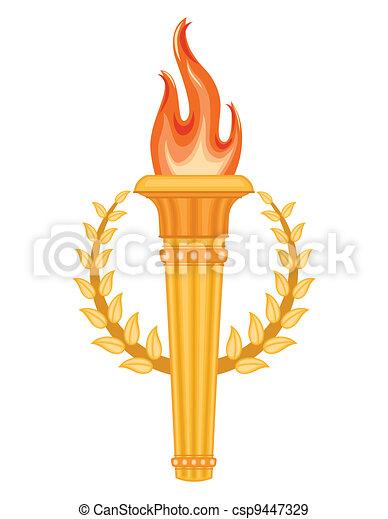 Grec olympique torche dor olympique sur torche - Flamme olympique dessin ...