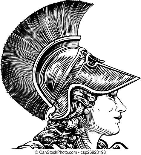 greco, donna, antico, guerriero - csp26923193