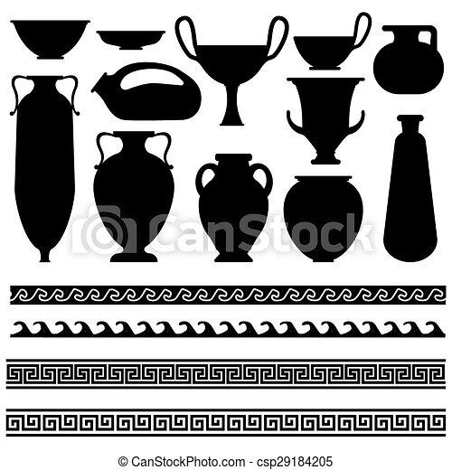 Greco Geometrico Ornamento Vaso Progetta Antico Ornamento
