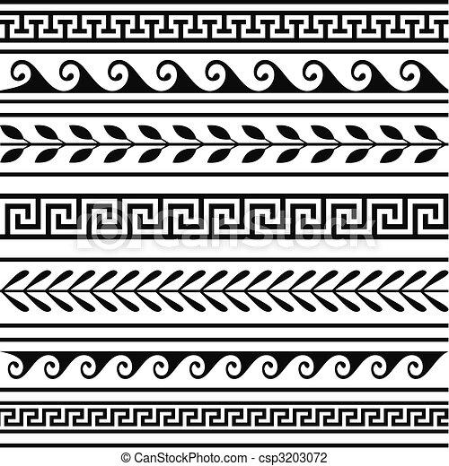 greco, geometrico, set, profili di fodera - csp3203072