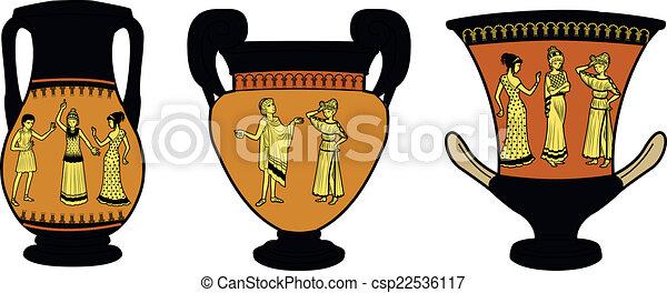 Greco Utensile Antico Tre Vasi Set Utensile Greco Drammatico