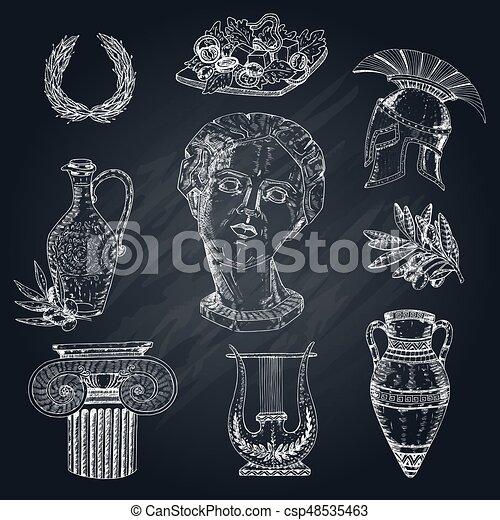 greece chalkboard elements set isolated hand drawn greece icon set