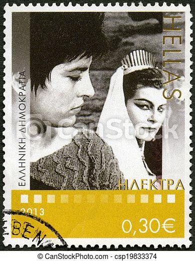 "GREECE - CIRCA 2013: A stamp printed in Greece shows Greek film ""Elektra (Electra)"" 1962, series Award-Winning Greek Cinema, circa 2013 - csp19833374"
