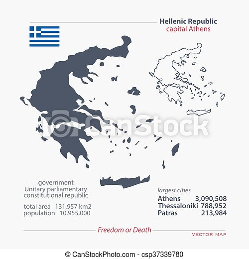 Greece Hellenic Republic Isolated Maps And Official Flag Icon
