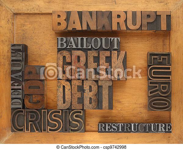 Greece financial crisis words - csp9742998